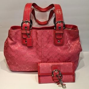 Coach Soho Signature Pink Tote and Wallet
